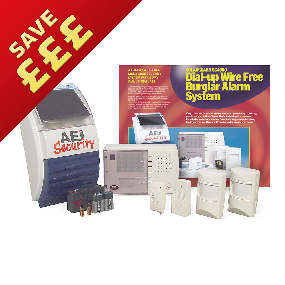 Aei Security Solarguard Advanced Dial Up Wireless Alarm System Wiring An Sg4000
